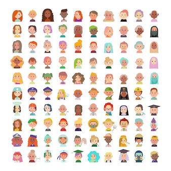 Große sammlung von personenavataren. zeichentrickfiguren verschiedener nationalitäten und berufe.