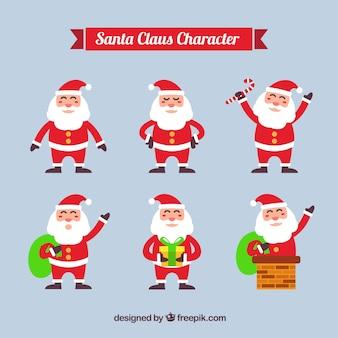 Große sammlung von sechs lächelnd santa claus in flaches design