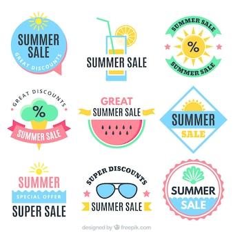 Große sammlung von sommer verkauf aufkleber in pastellfarben
