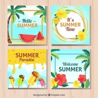 Große sammlung von sommerkarten mit farbigen elementen