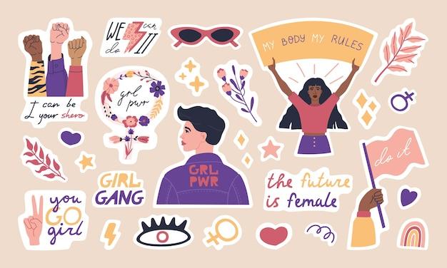 Große sammlung von trendigen feminismus-aufklebern, niedlichen frauenfiguren und inspirationszitaten.
