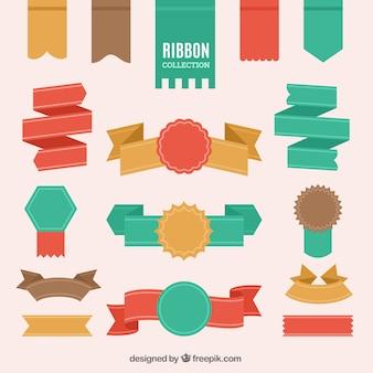 Große sammlung von vintage-bänder in flaches design