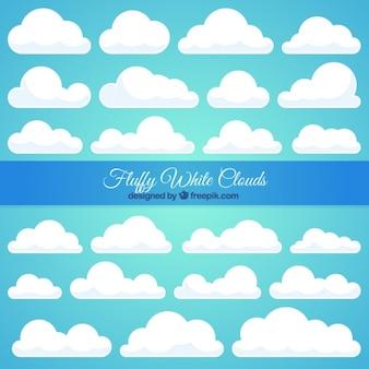 Große sammlung von weißen wolke