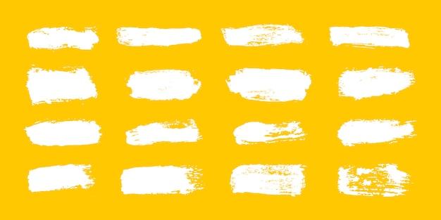 Große sammlung von weißer farbe, pinselstrichen, pinseln, linien, grungy.