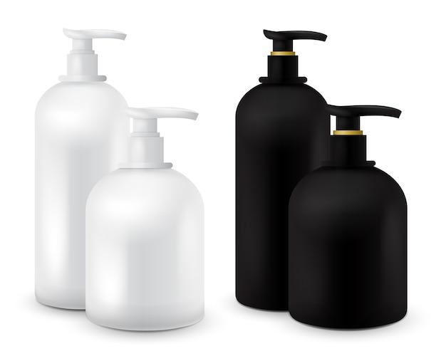 Große set jar mit flüssigseife für ihr logo und design ist einfach, farben zu ändern. realistischer schwarz-weißer kosmetikbehälter für seifencreme, lotion. mock-up-flasche.