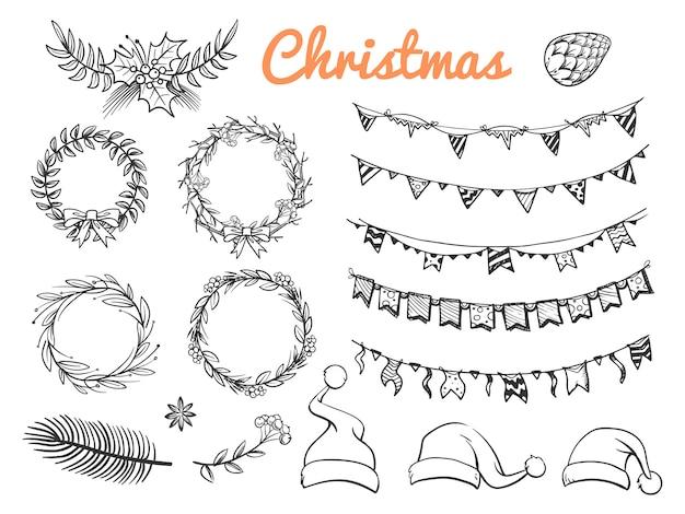 Große skizze weihnachtssymbolelemente lokalisiert auf weißem hintergrund