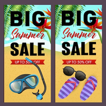 Große sommerschlussverkauf-beschriftungen eingestellt, tauchermaske, flipflops auf strand