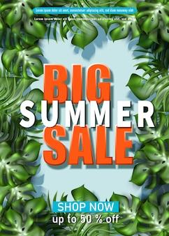 Große sommerverkaufsfahnenschablone mit tropischem blätterrahmen
