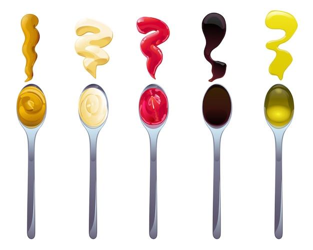 Große soße im löffelsatz. soja-, olivenöl-, senf-, ketchup- und mayonnaise-saucen. gewürzelemente für lebensmitteldesign.