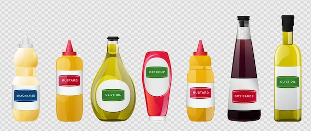 Große soße in flaschen eingestellt. soja-, olivenöl-, senf-, ketchup- und mayonnaise-saucen. gewürzelemente für lebensmitteldesign.