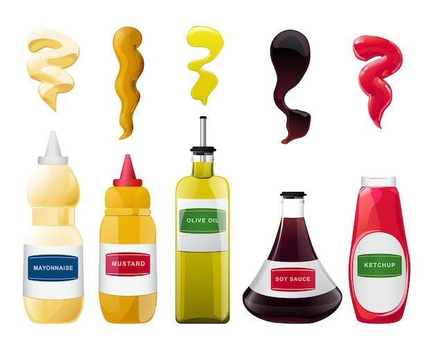 Große soße in flaschen und spritzer eingestellt. soja-, olivenöl-, senf-, ketchup- und mayonnaise-saucen. gewürzelemente für lebensmitteldesign.
