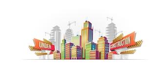 Große Stadtgebäude auf dem Hintergrund von Gebäuden im Bau