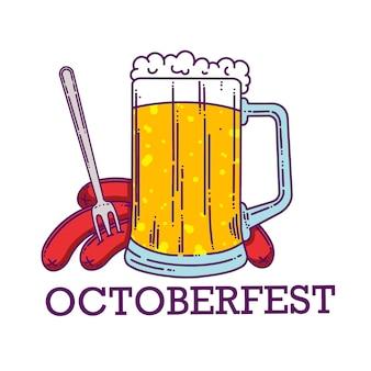 Große tasse bier und würstchen