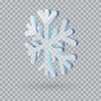 Große transparente 3d-vektorschneeflocke lokalisiert auf weißem hintergrund.