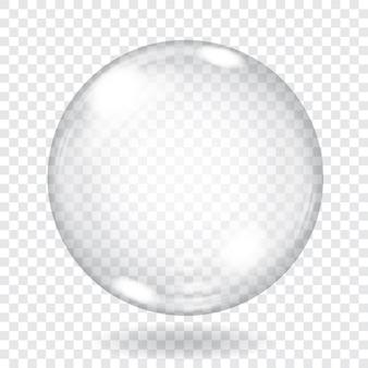 Große transparente glaskugel mit blendungen und schatten. transparenz nur in vektordatei