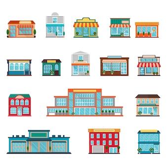 Große und kleine gebäudeikonen der speicher und der supermärkte eingestellt
