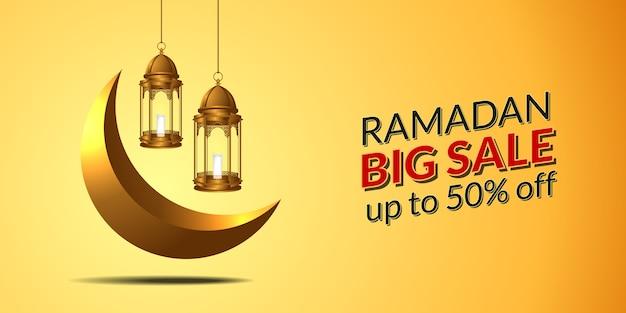 Große verkaufsfahnenschablone für ramadan-kareem mit goldener hängender laterne 3d und sichelförmigem monat.