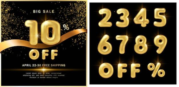 Große verkaufsförderungs-marketingschablone luxuriöser goldener ballontext und banddekoration mit schwarzem dunklem hintergrund