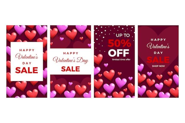Große verkaufsgeschichtensammlung des valentinstags