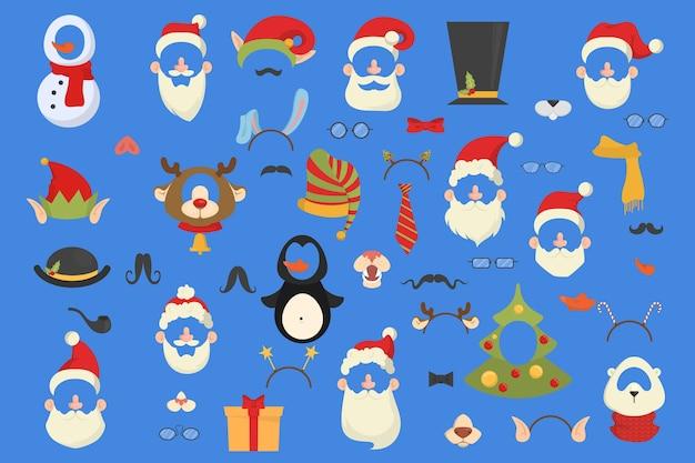 Große weihnachtsfeier requisiten für photobooth set. sammlung von hut, maske und anderen dekorationen zum spaß. weihnachtsmütze und schnurrbart. illustration
