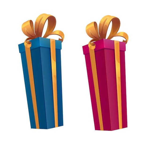 Große weihnachtsgeschenkboxen, cartoon-geschenke, bänder