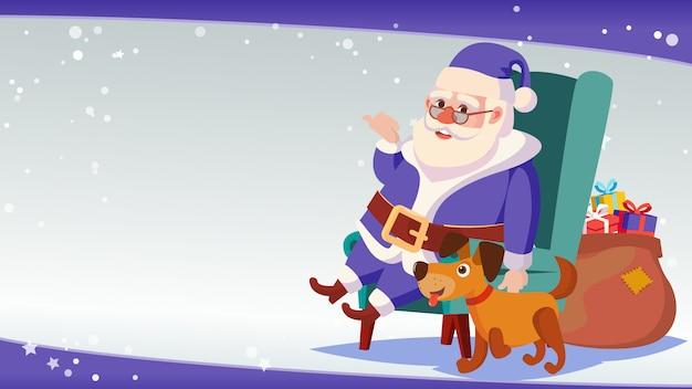 Große weihnachtsverkaufs-fahnen-schablone mit glücklichem santa claus.
