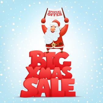 Große weihnachtsverkaufs-fahnenschablone mit weihnachtsmann-charakter.