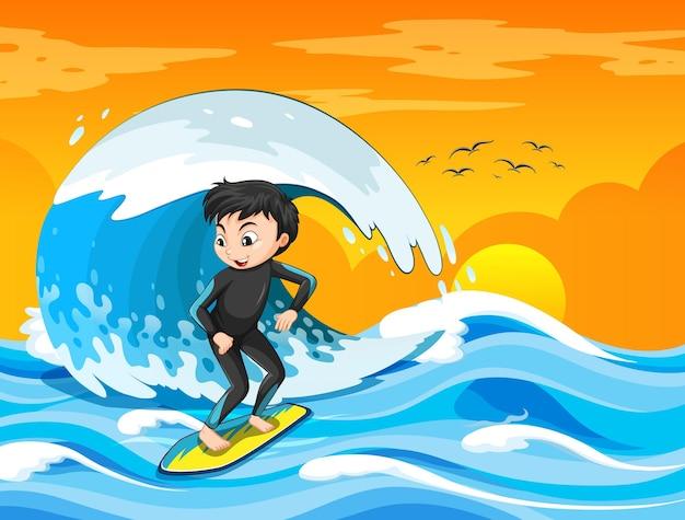 Große welle in der ozeanszene mit dem jungen, der auf einem surfbrett steht