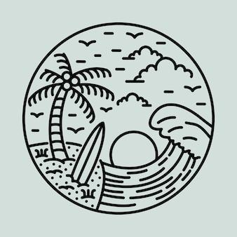 Große welle und schönheit sommer grafische illustration vektorgrafiken t-shirt design