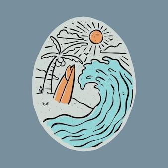 Große welle und surfbrett grafik illustration vektorgrafik t-shirt design