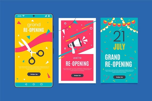 Große wiedereröffnung event instagram geschichten