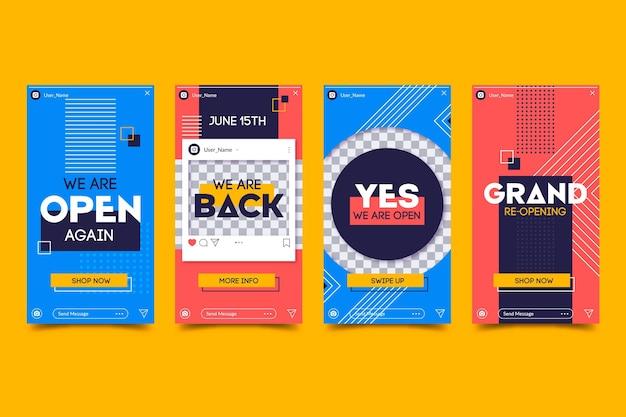 Große wiedereröffnung instagram geschichten design