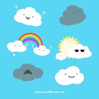 Große wolken mit verschiedenen ausdrücken