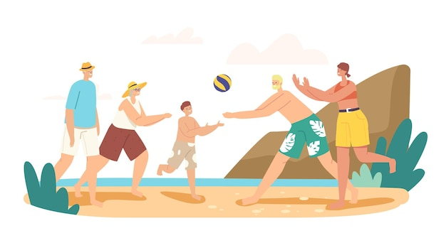 Großeltern, eltern und kind spielen beachvolleyball am meer. happy characters competition, spiel und erholung am ocean shore, freizeit für verwandte, urlaub. cartoon-menschen-vektor-illustration