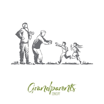 Großeltern, enkelkinder, familie, generationskonzept. hand gezeichnete glückliche große familie mit konzeptskizze der großmutter und des großvaters.