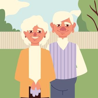 Großeltern im hinterhof