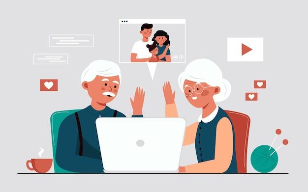 Großeltern kommunizieren per videoverbindung mit ihren familien älteres ehepaar amüsiert sich