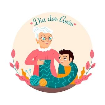 Großeltern lesen eine gutenachtgeschichte