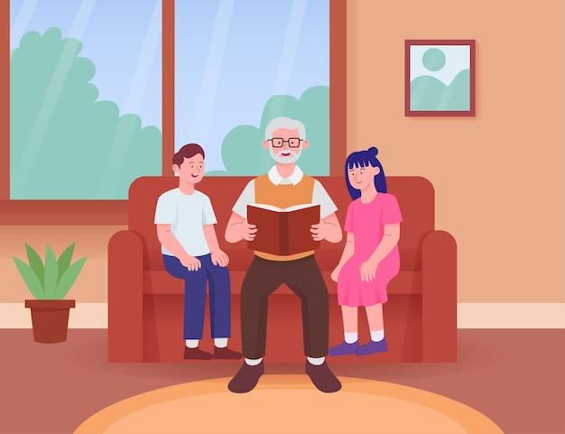 Großeltern lesen geschichtenbuch mit enkelkind im sofa
