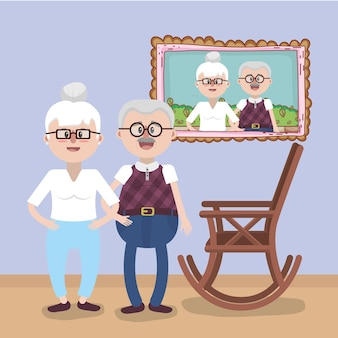 Großeltern lieben beziehungskarikatur