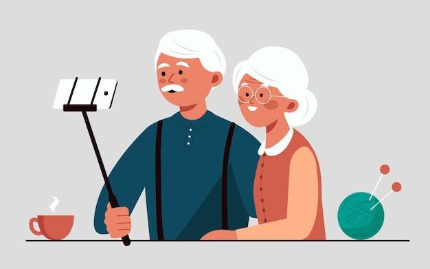 Großeltern machen selfies auf ihrem smartphone älteres paar, das sich amüsiert