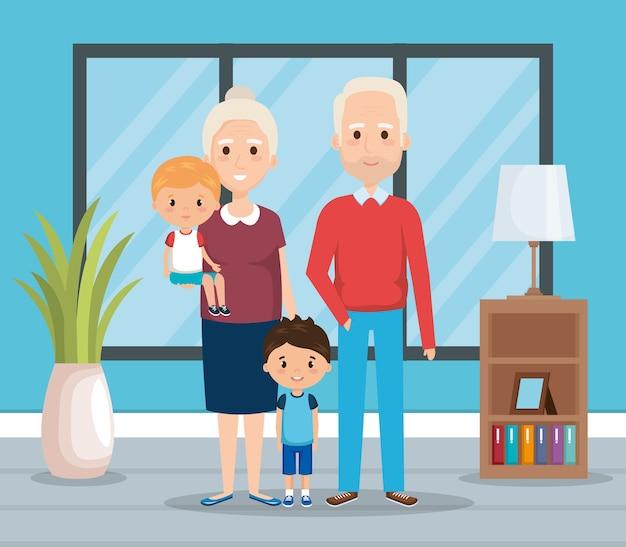 Großeltern mit enkelkindern im wohnzimmer