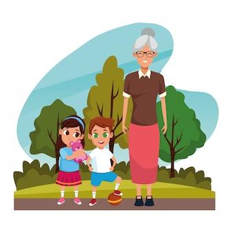 Großeltern mit enkeln im park