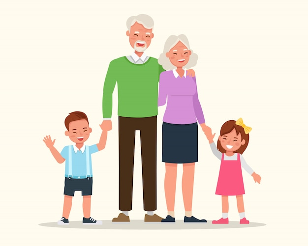 Großeltern mit ihrem enkelcharakter-vektorentwurf.