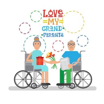 Großeltern-paare auf rad-stuhl-glücklicher großmutter und großvater-tagesgruß-karten-fahne