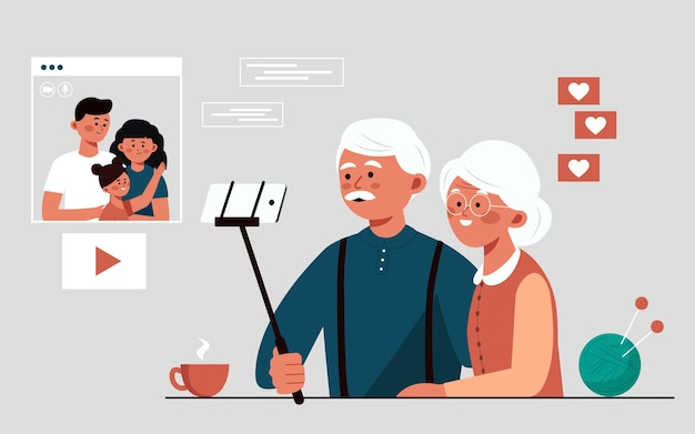 Großeltern sprechen über eine videoverbindung mit der familie und kommunizieren miteinander, indem sie das internet über eine video-flat-vektor-illustration nutzen