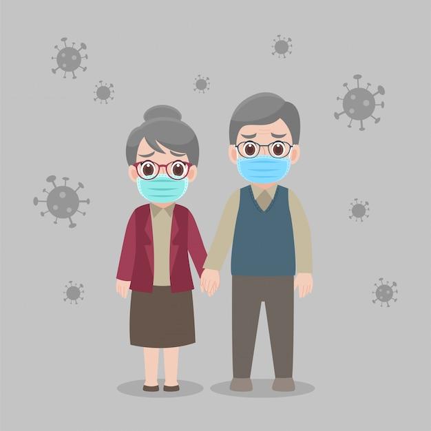 Großeltern tragen eine medizinische schutzmaske, um viren vorzubeugen