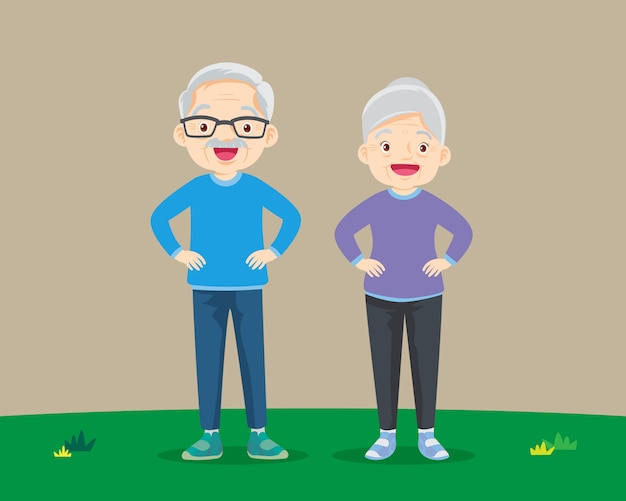 Großeltern üben hände auf der taille stehend