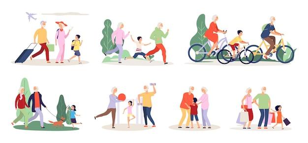 Großeltern und enkel. aktivität der alten leute mit jungenmädchen. reisen sie mit dem fahrrad, das sportübungen-vektorillustration tut. enkel und großeltern zusammen, cartoon-aktivzeit