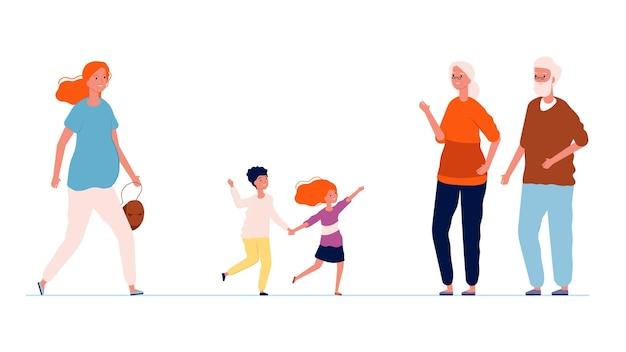 Großeltern und enkel. alte leute treffen jungen und mädchen und ihre mutter. schwangere frau mit kindern und ihren eltern. mutterschaft oder elternschaft-vektor-illustration. großmutter großvater und kinder